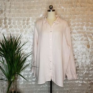 J.Jill baby pink button-down 100% linen blouse